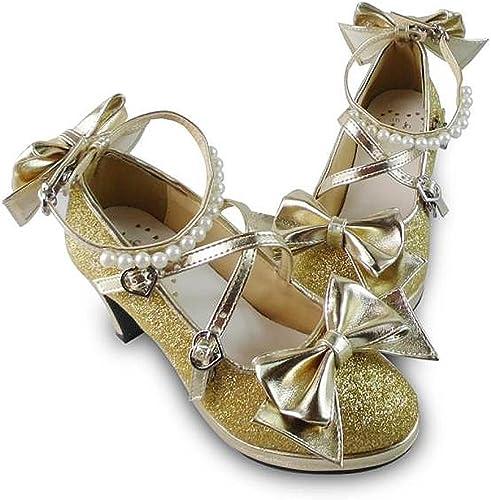 Womens Sweet Princess Girls Bowtie Lolita Low Block Heels Shoes Glitter Sequins