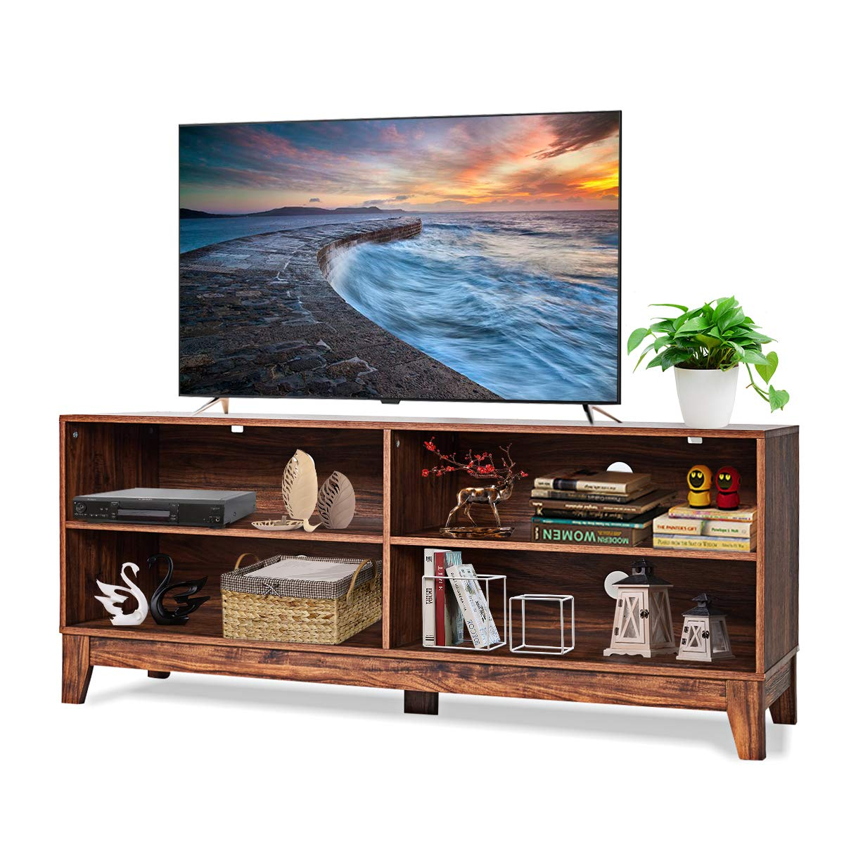 Tangkula TV Stand, Modern Design Wooden Storage Console Entertainment Center for TV up to 60'', Home Living Room Furniture with 4 Open Storage Shelves, Television Stands (Brown) by Tangkula