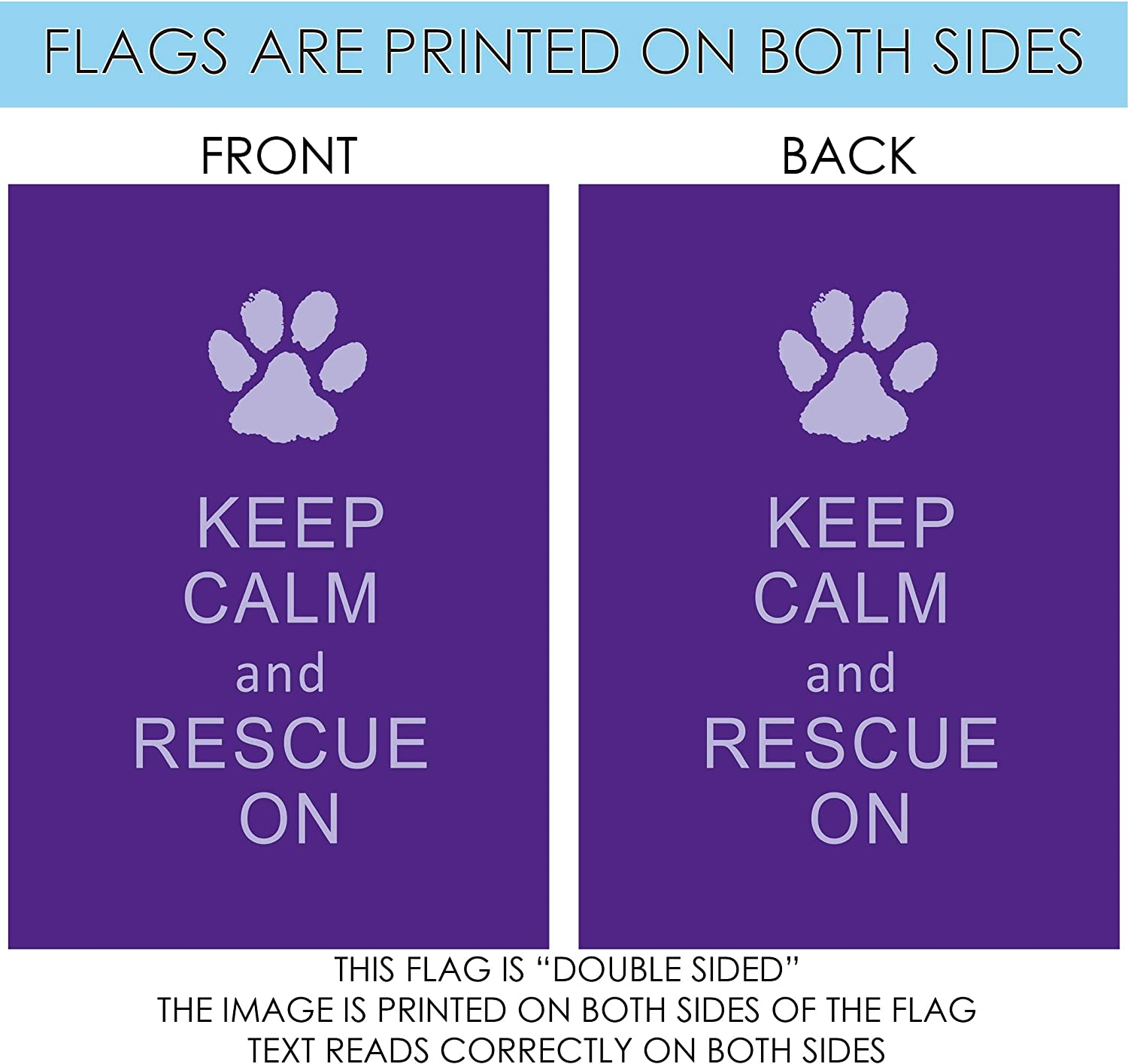 Amazon Com Toland Home Garden Rescue On 28 X 40 Inch Decorative Keep Calm Puppy Dog Animal Paw Double Sided House Flag Garden Outdoor