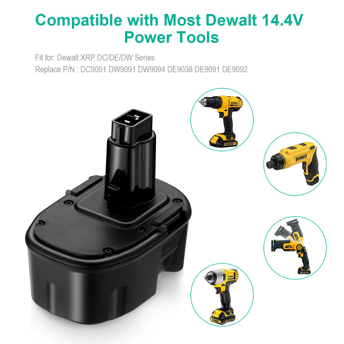 FirstPower 3.5AH 14.4V XRP Battery Replacement for Dewalt DC9091 DW9091 DW9094 DE9038 DE9091 DE9092 DEWALT Power Tool Battery DEWALT XRP DC DW DE Series ( 2 Pack ) by FirstPower (Image #4)