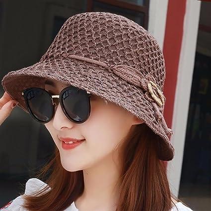 XINQING-MZ El sombrero de paja plegable en el verano chica gráficos cara  pequeña de b254105bc44