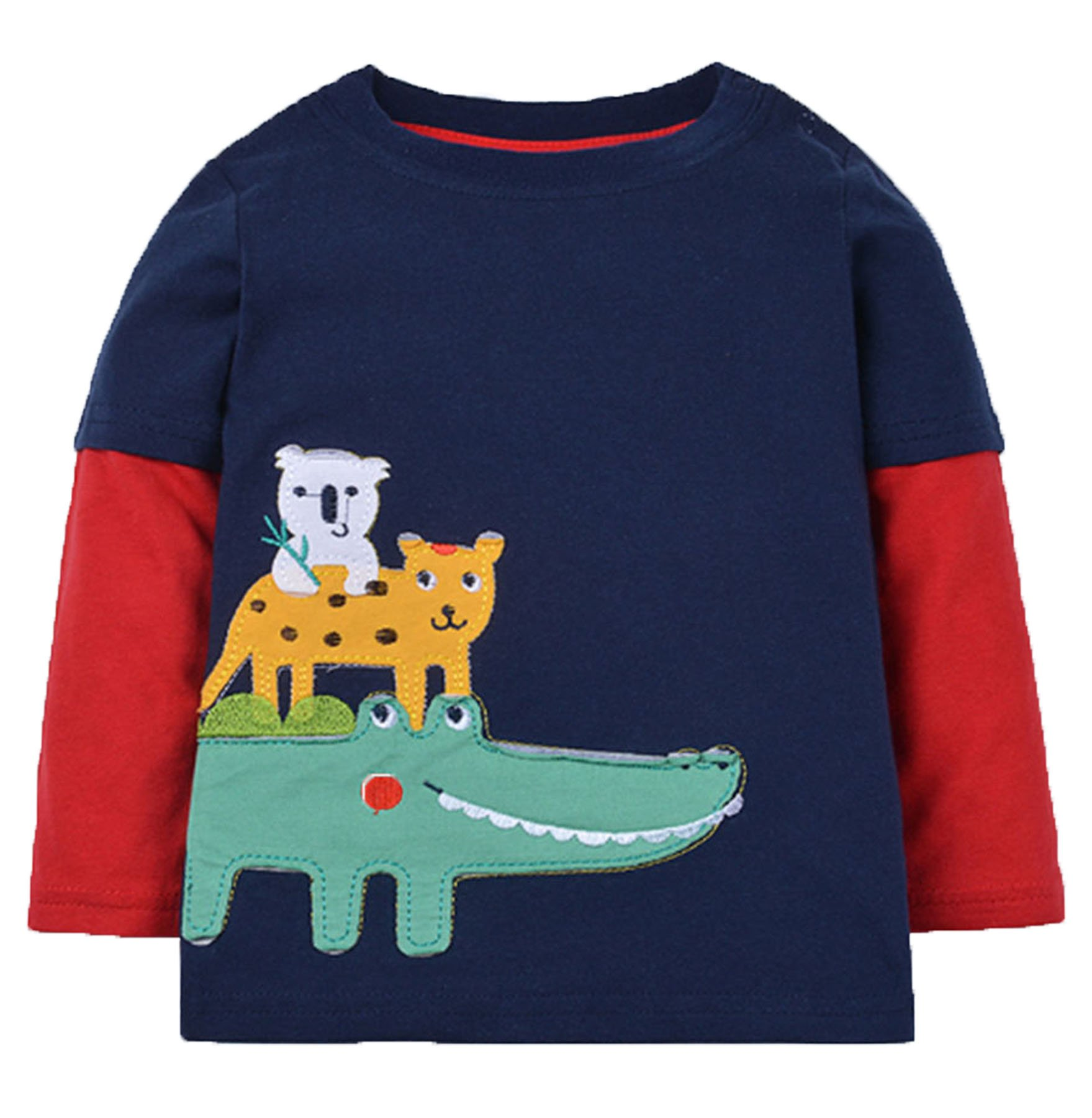 Crocodile Little Boys' Pajamas 100% Cotton Long Sleeve Clothes Toddler Kids T-Shirt