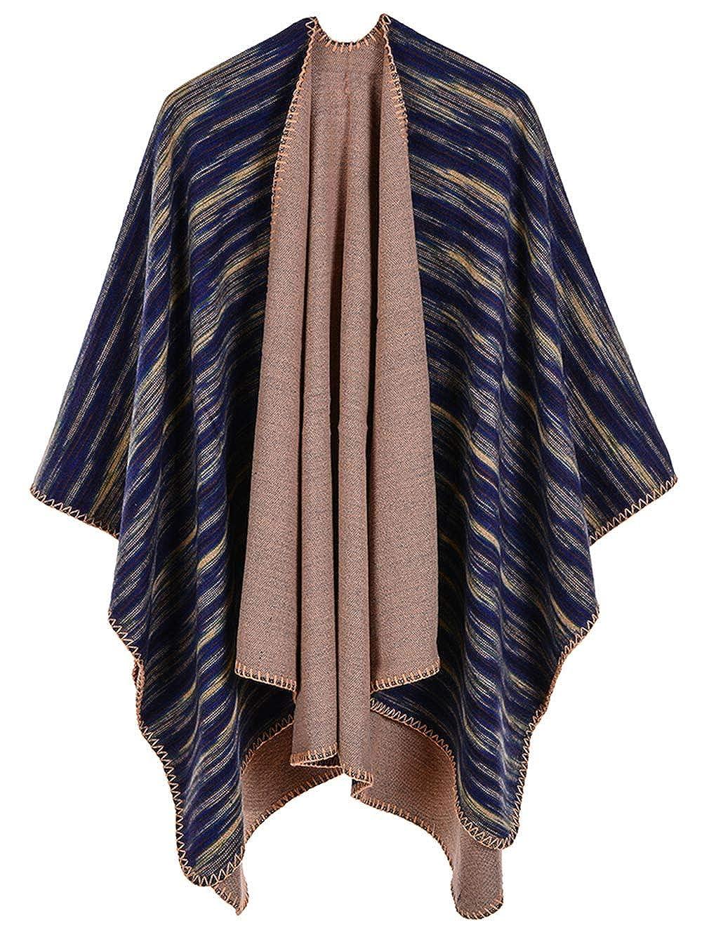 8502c56c50bc Cape Poncho Femme Grande Taille Tricot Tartan Vintage Style Foulard Chaud  Ouverture Large Epais Châle Longue Couverture Discret Hiver Automne   Amazon.fr  ...