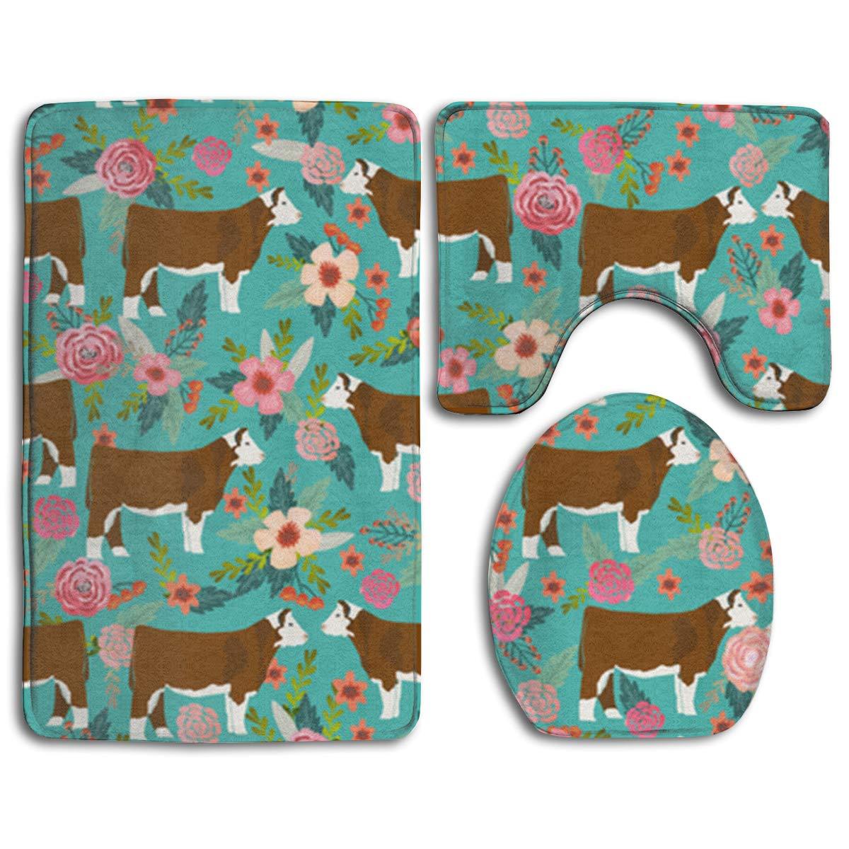 Contour Mat Set of 3 Bathroom Rugs Floral Mats Bathmat Toilet Lid Cover