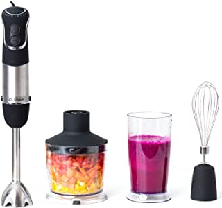 Immersion Blender, Hand Blender Set with Food Processor, Whisk and Beaker. 850 Watt, 6 Speed, Stainless Steel. For Soups, Sauce, Puree and More.