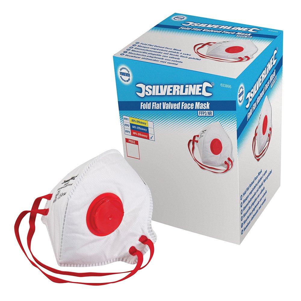 Silverline 633895 FFP-3-NR-Atemschutzmaske mit Ventil, flach gefaltet, Verkaufsdisplay, 25er-Pckg. FFP-3-NR