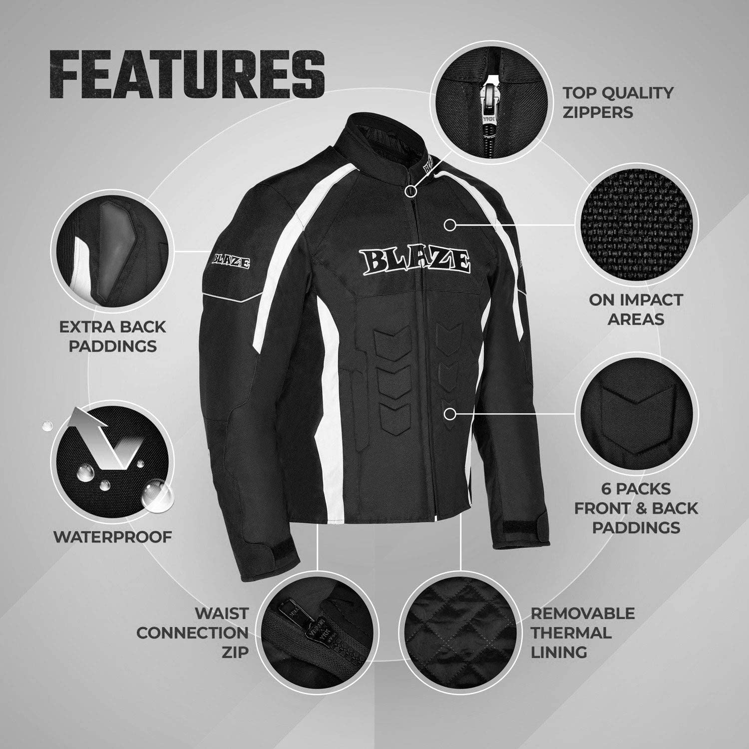 Black, 3XL Motorbike accessories for men women Winter Summer Armour Motorcycle Riding padded Breathable Jacket Waterproof Textile Full Body Protection Gear