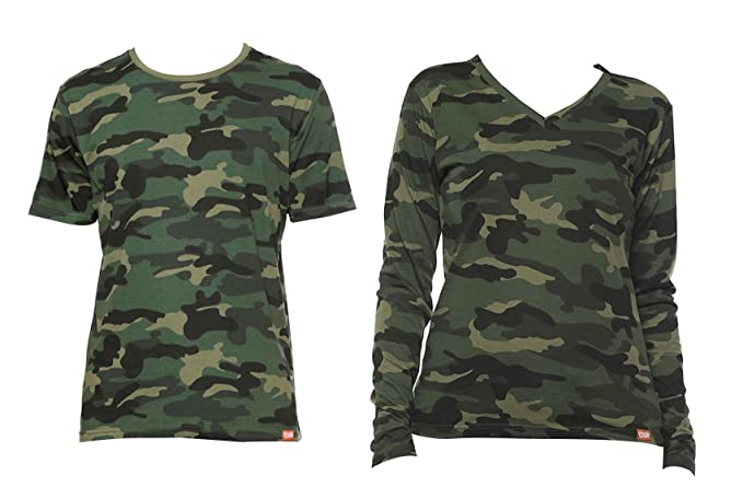 4b02165eb6 WYO Camouflage Couple for Men's and Women's T-Shirt Top (Style - Half Sleeve ,Full Sleeve): Amazon.in: Clothing & Accessories