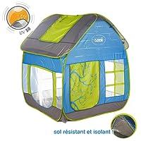 LUDI - Tente cottage pop-up pour jouer dans le jardin 130 x 120 x 144 cm. Dès 2 ans. Tissu résistant et anti UV, sol isolant, grande aérations, fixations au sol. Se plie et se range dans un sac- 5210