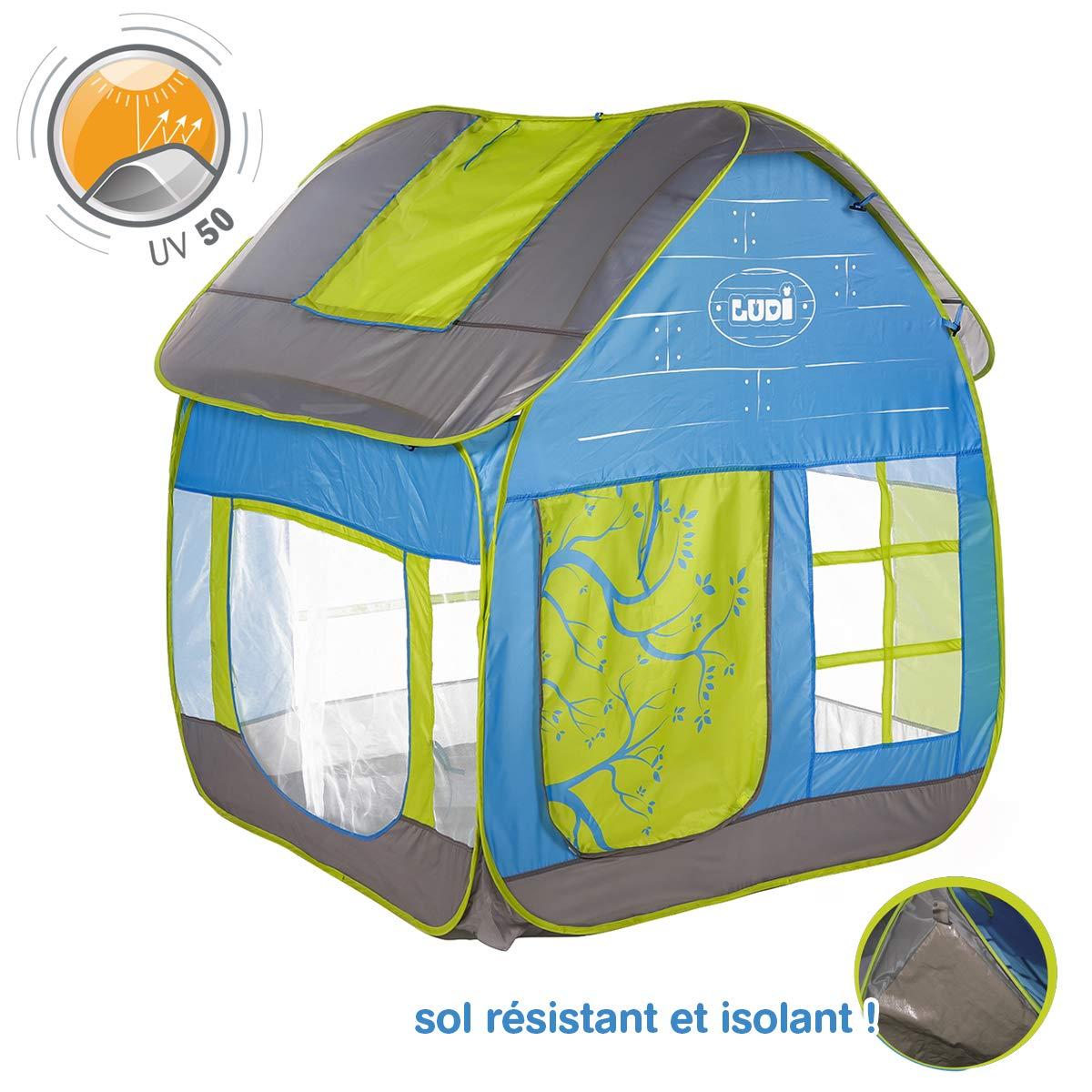 LUDI - Tente cottage pop-up pour jouer dans le jardin 130 x 120 x 144 cm. Dès 2 ans. Tissu résistant et anti UV, sol isolant, grande aérations, fixations au sol. Se plie et se range dans un sac- 5210 product image