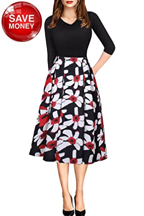 182951256d5 Vintage Work Dress for Women 3 4 Sleeve Floral Midi Wedding Guest Dress  with Pocket
