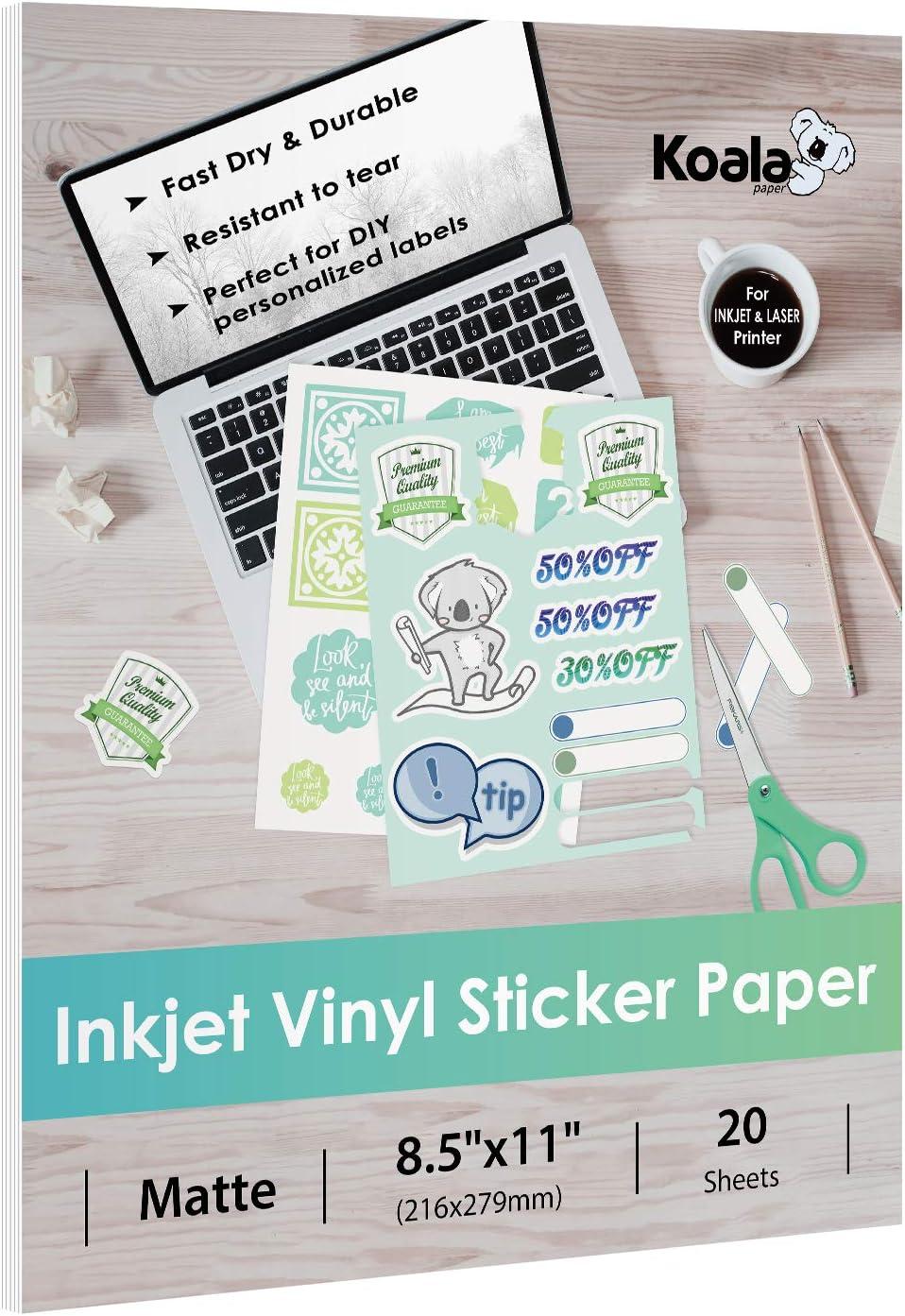 Koala Vinyl Sticker Paper Matte Printable Label 8.5x11 Inches Full Sheet for Inkjet Printer 20 Sheets