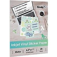 Koala Vinyl Sticker Paper Matte Printable Label Waterproof 8.5x11 Inches Full Sheet for Inkjet Printer 20 Sheets