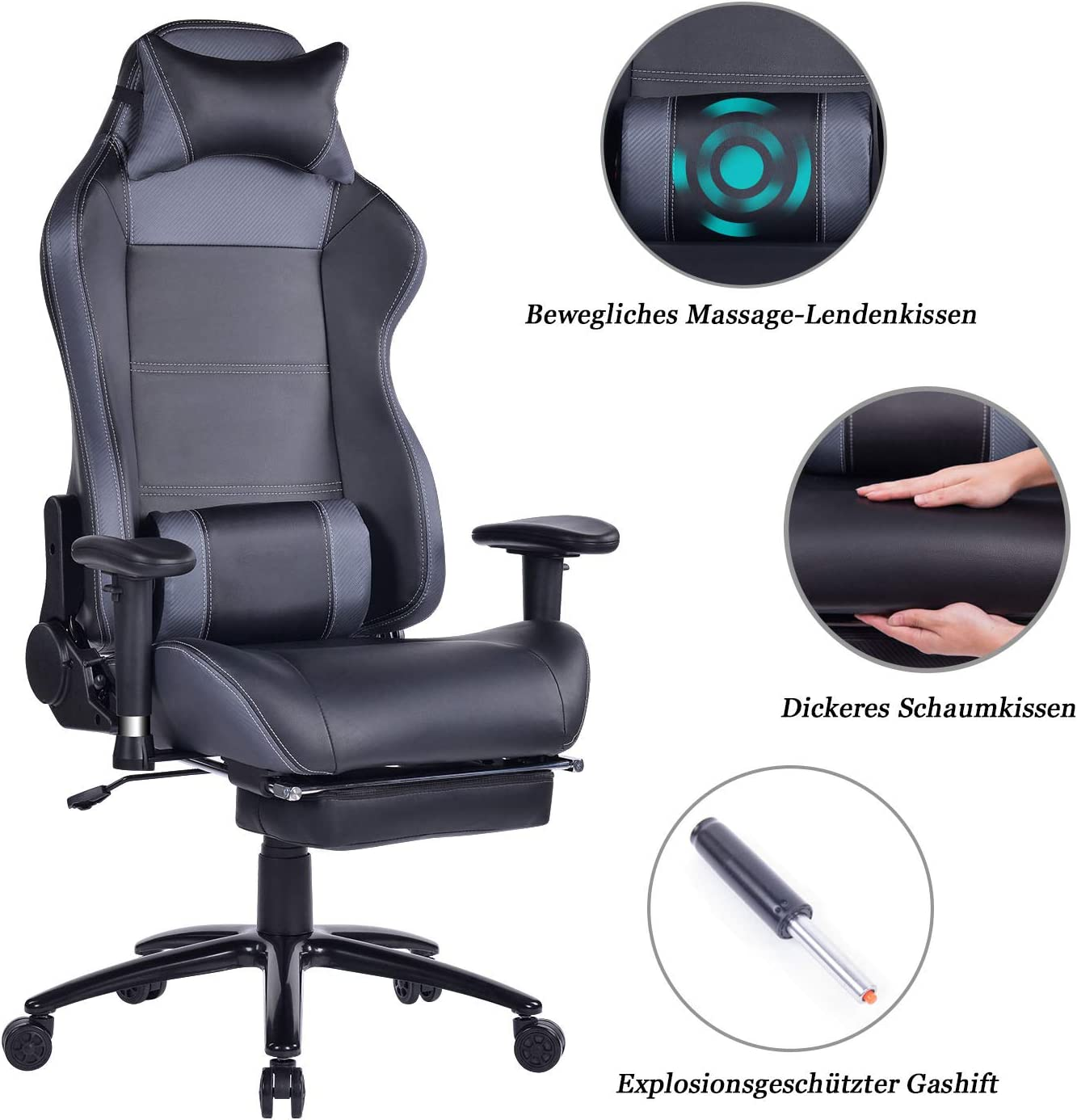 HEALGEN Reclining Gaming Chair with Adjustable Massage Lumbar Pillow and Footrest- Memory Foam PC Computer Racing Chair - Ergonomic High-Back Desk Office Chair (8263Grey)
