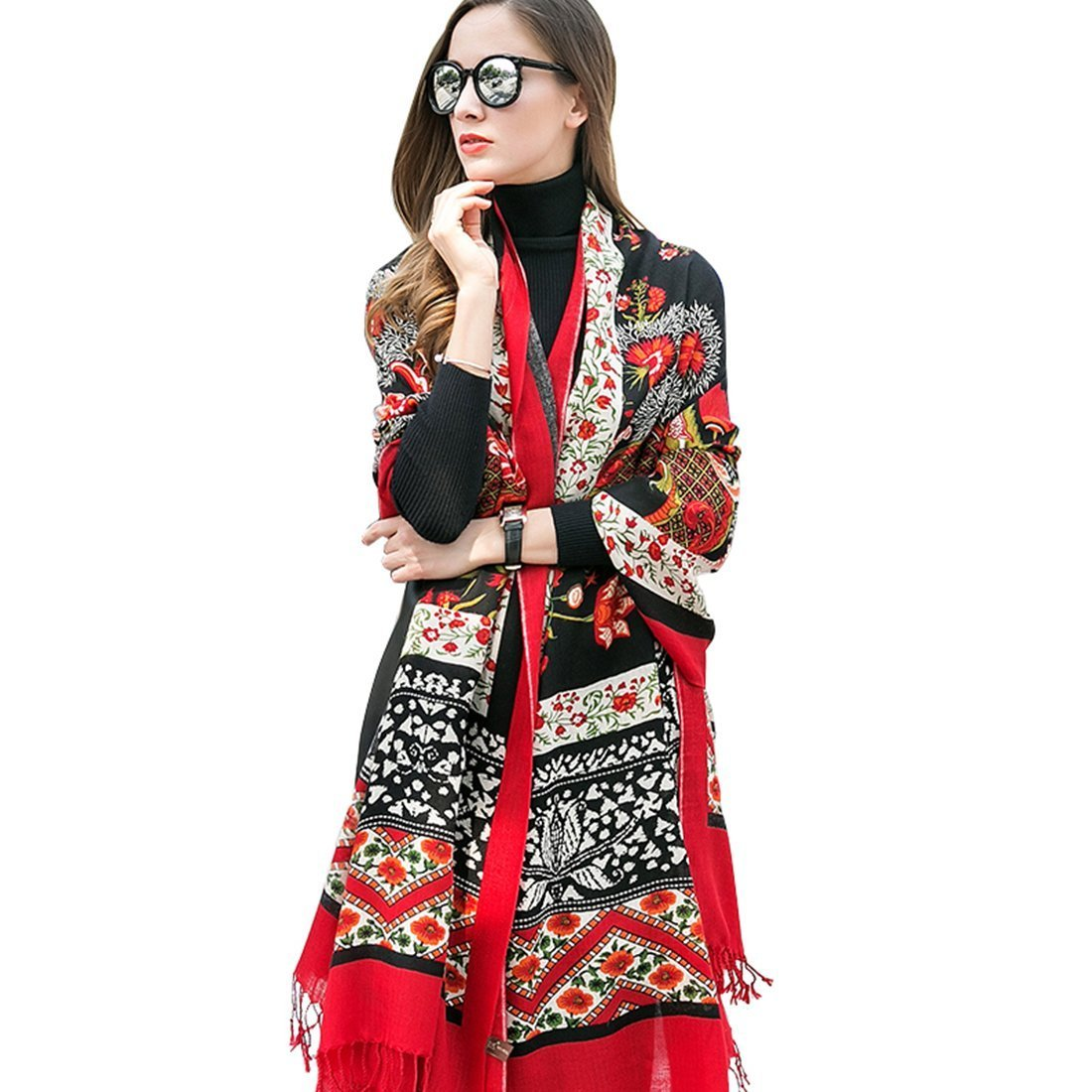 DANA XU 100% Pure Wool Women Scarf Large Size Pashmina (Red)