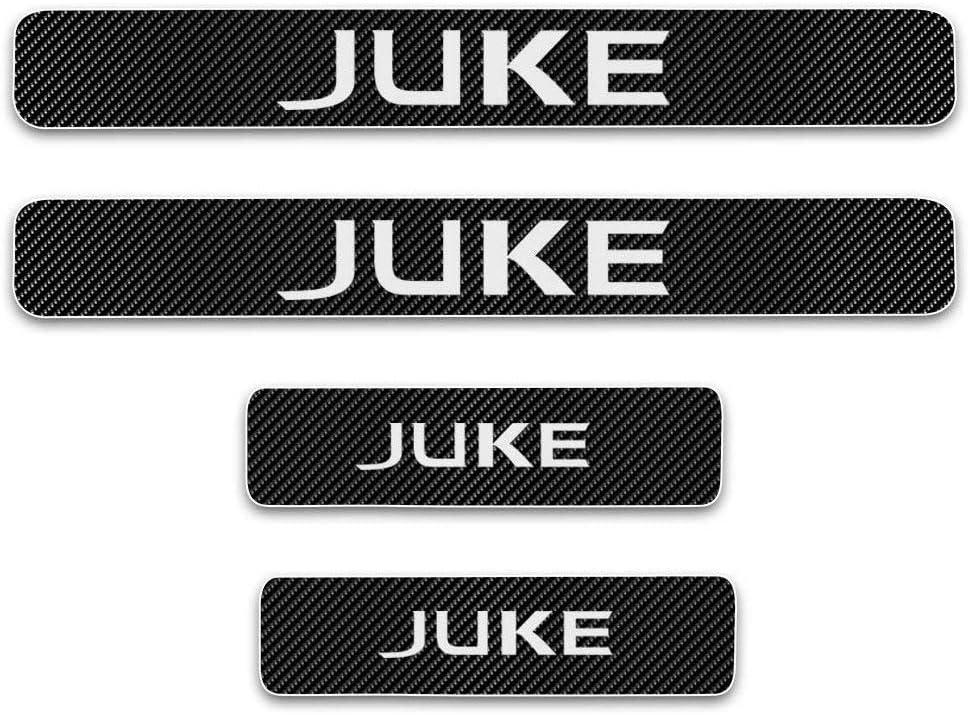 L/&U 4 Pezzi in Fibra di Carbonio 4D Sportello dauto davanzale Riflettente Protector Entrata Guardia dello Scuff del davanzale Adesivi a Piastre di Nissan Juke,Bianca