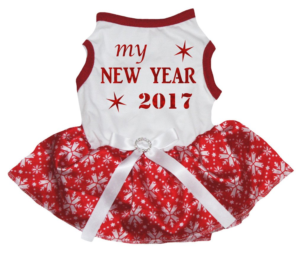 Petitebella Puppy Dog Clothes Bling New Year 2017 White Shirt Red Snowflake Tutu (Small1)