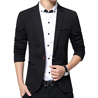 Men's Blazer Slim Fit Casual Elegant Lightweight Sports Coats Jackets One Button at Men's Clothing store