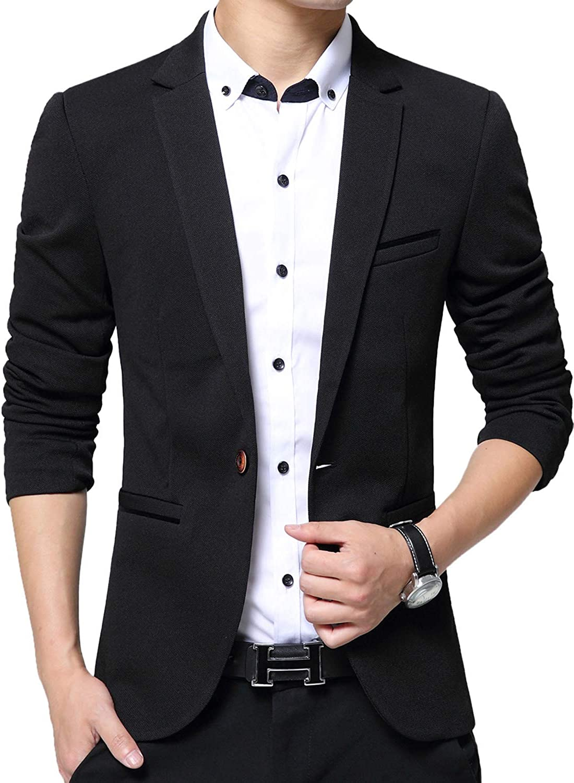 Men's Blazer Slim Fit Casual Elegant Lightweight Sports Coats Jackets One Button