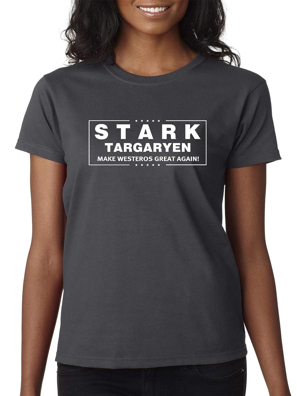 Charcoal Trendy USA 775  Women's TShirt Stark Targaryen Game of Thrones Election