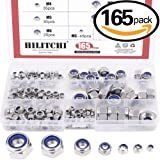 Hilitchi 165-Piece Stainless Steel Nylon Lock Nut Assortment Kit, Size Include: M3 M4 M5 M6 M8 M10 M12 (Lock Nuts)