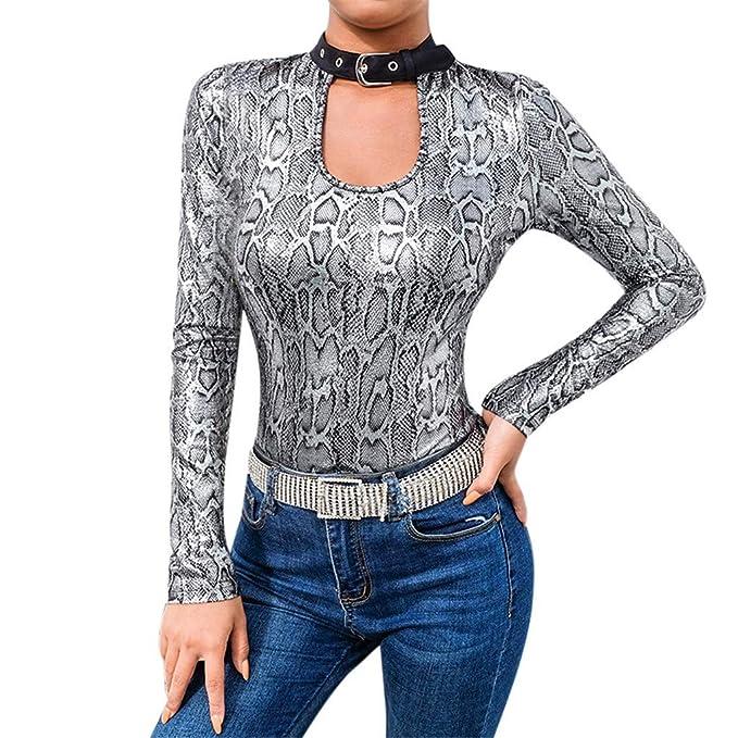 K-youth Blusas Mujer Sexy Plata Leopardo Ropa de Mujer en Oferta Sin Respaldo Camisas