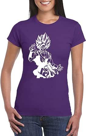 Purple Female Gildan Short Sleeve T-Shirt - Goku Super Saiyan D4 design