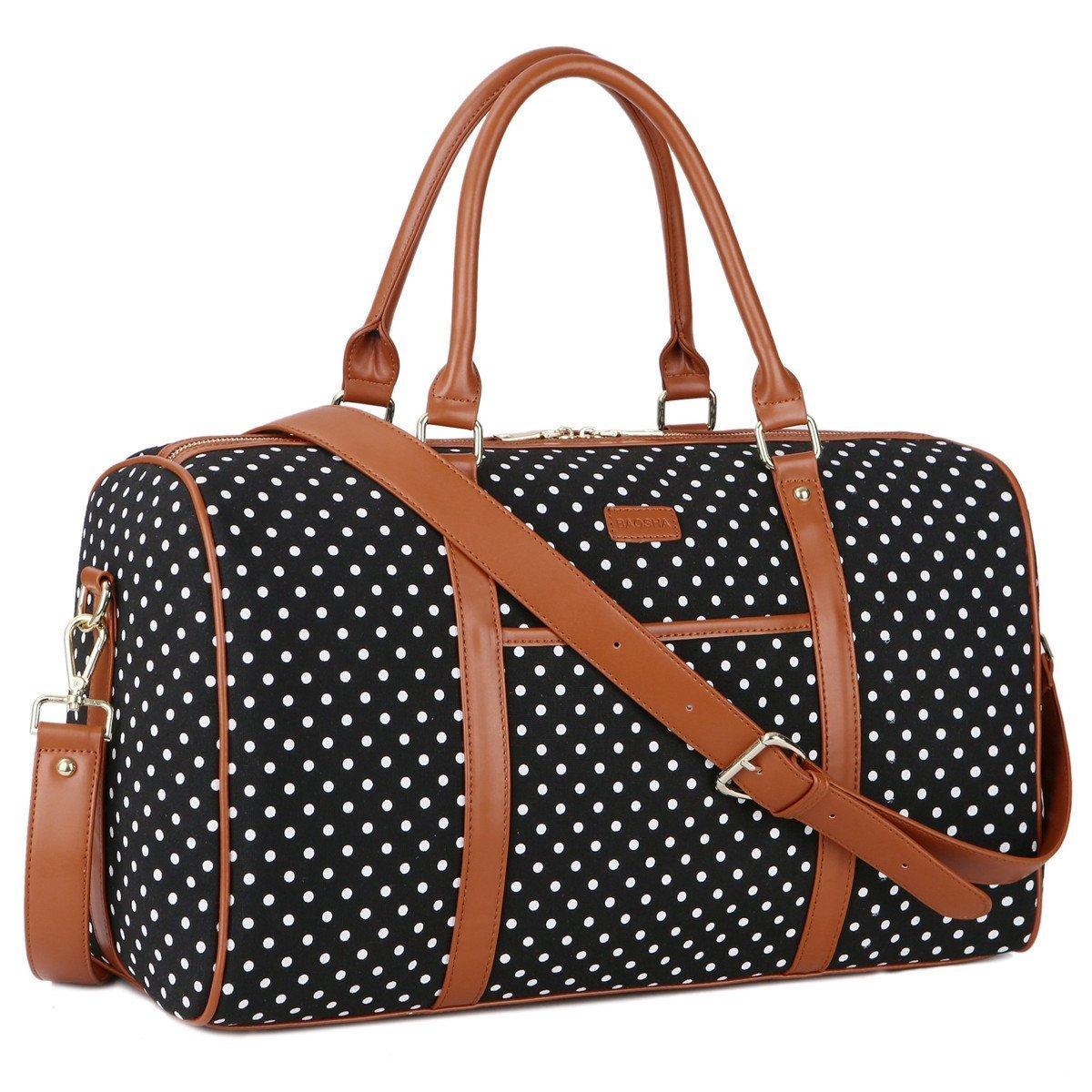 BAOSHA HB-25 Cute Lady Women Canvas Travel Bag Weekender Overnight Bag Carry-on Duffel Tote Bag (Black Dot)