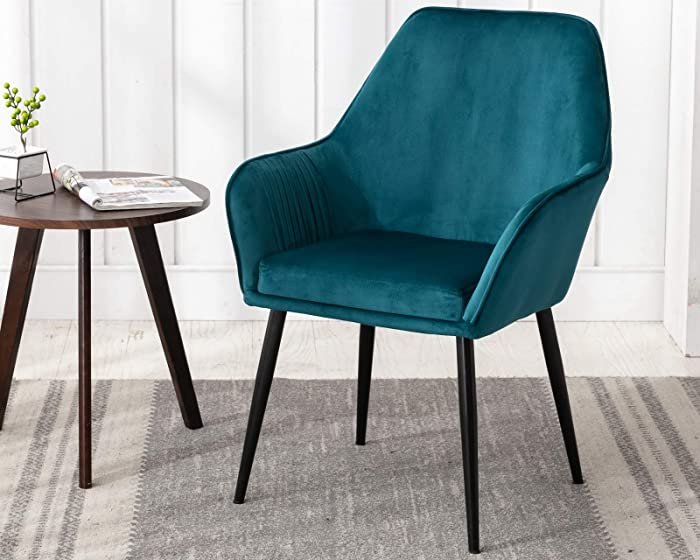 CIMOTA Teal Blue Accent Chair Modern Upholstered Velvet Armchair Comfy Leisure Side Chair Makeup Vanity Chair for Living Room Bedroom Dining Room