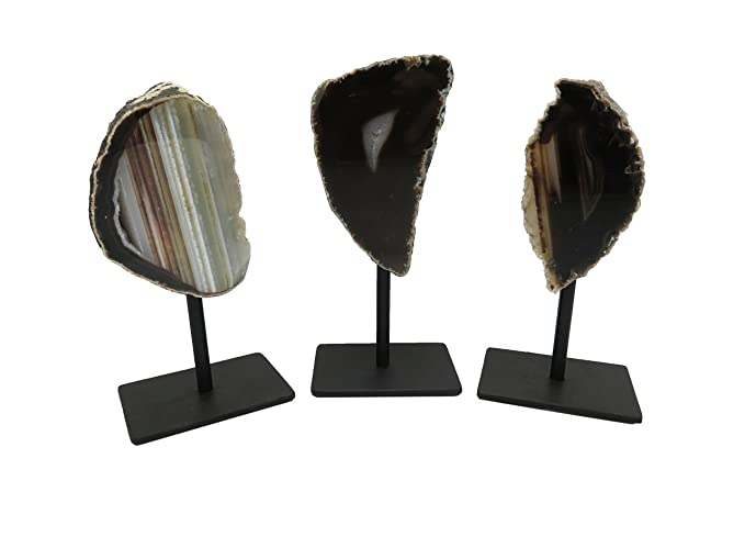 Amazon.com: Rock Paradise Multi Colored Geode on Metal Stand Agate Slice Druzy - Metal Stand - Crystal Healing - Home Decor Exclusive COA (Natural): Home & ...