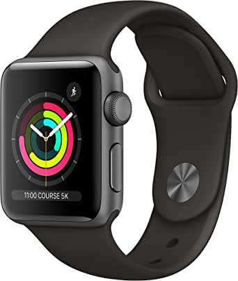 Apple Watch Series 3 (GPS, 38‑mm) kast van spacegrijs aluminium zwart sportbandje