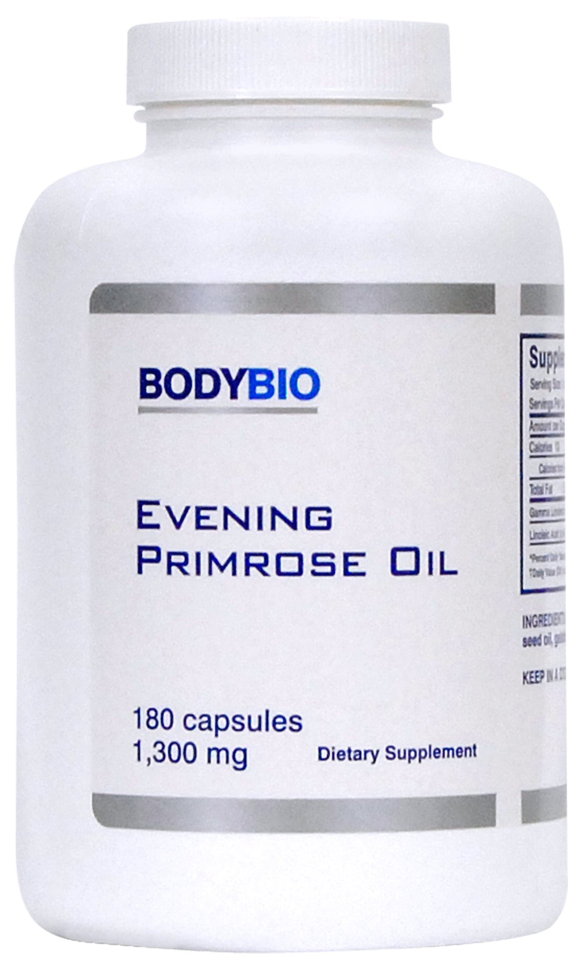 BodyBio - Evening Primrose Oil for Healthy Skin, Immune Support & Hormone Balance. Non-GMO, Cold Pressed - 1300mg, 180 Softgels by BodyBio