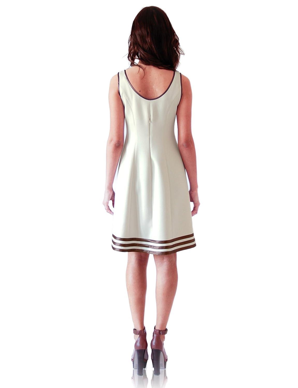 """VEERY"" A-line beige dress with satin detailing and hidden back zip closer"