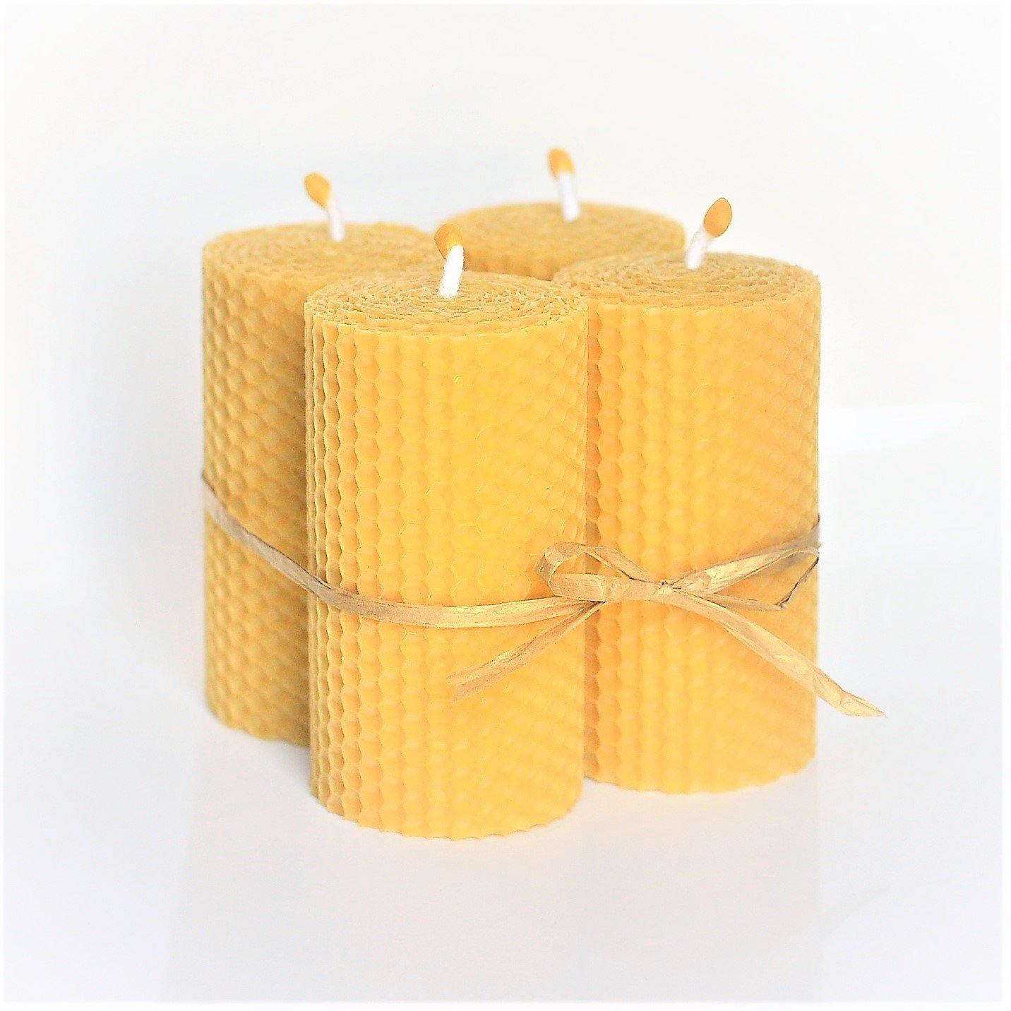 100% Pure Beeswax Candle Set of 4 Candles Size 4 inch x 2 inch Hand Rolled Decorated Natural Honey/Beeswax Scent 100% Handmade Eco Candle Honey Candles