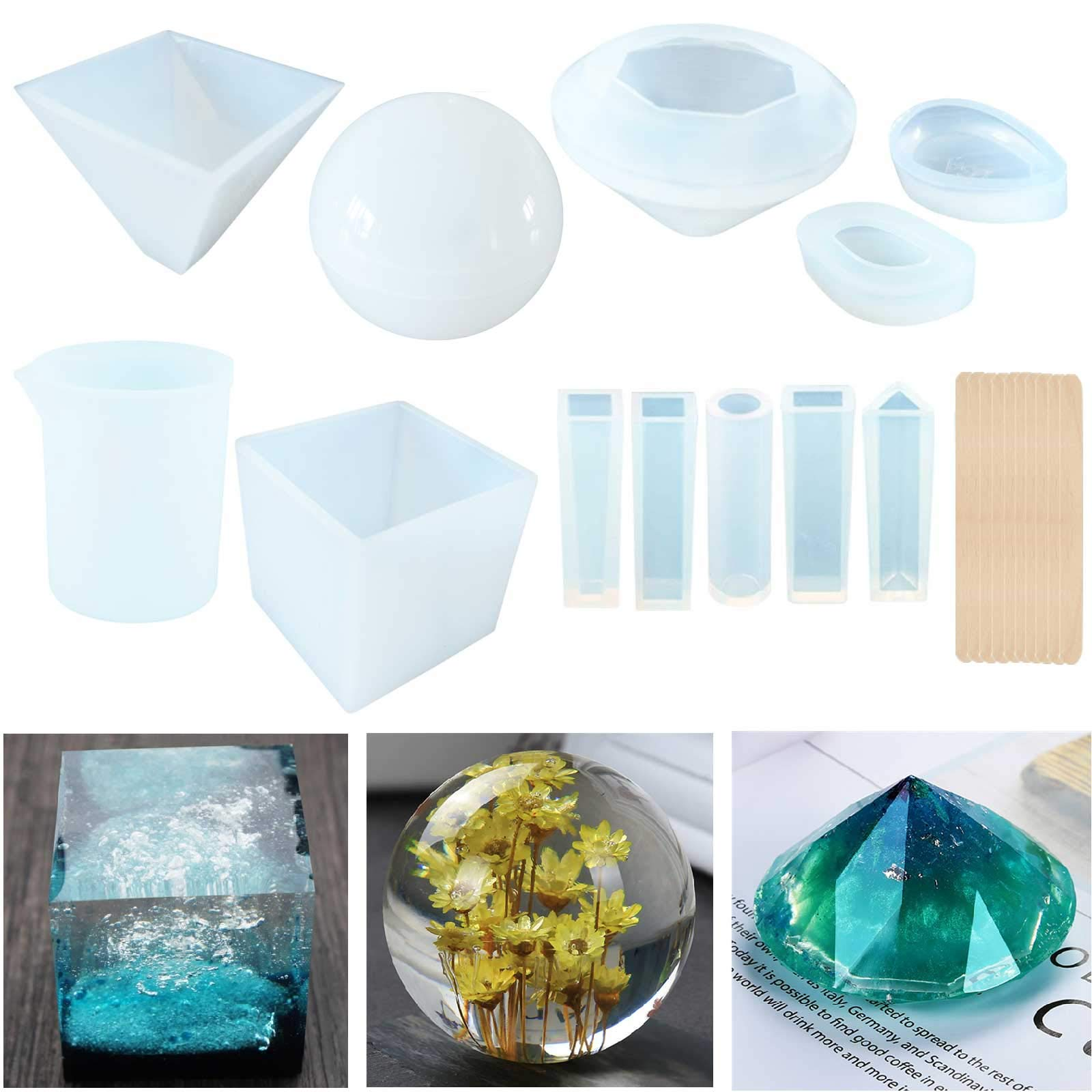 Topus 11 Packs Casting Molds for Resin,Soap,Wax etc,Including The Spherical, Cubic, Diamond, Pyramid, and Water Drop Shape Molds, with Measurement Cups& Wood Sticks. by Topus