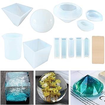Moldes de resina para fundición Jofamy, grandes, transparentes, de silicona, para resina