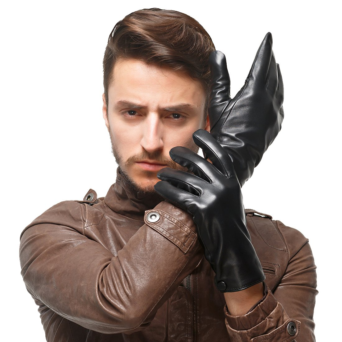 Nappaglo Men's Classic Lambskin Leather Gloves Touchscreen Pure Cashmere Lining Winter Warm Driving Mittens (L (Palm Girth:8.5''-9''), Black (Touchscreen))