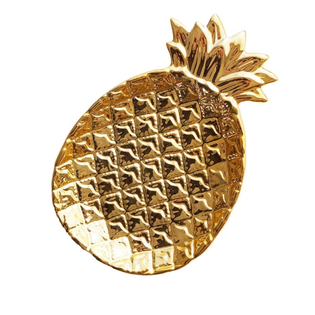 globlepanda Pineapple Shape Jewelry Holder Decorative Pineapples Food Dessert Necklace Earrings Storage Tray for Home Decor Birthday Gifts(Gold)
