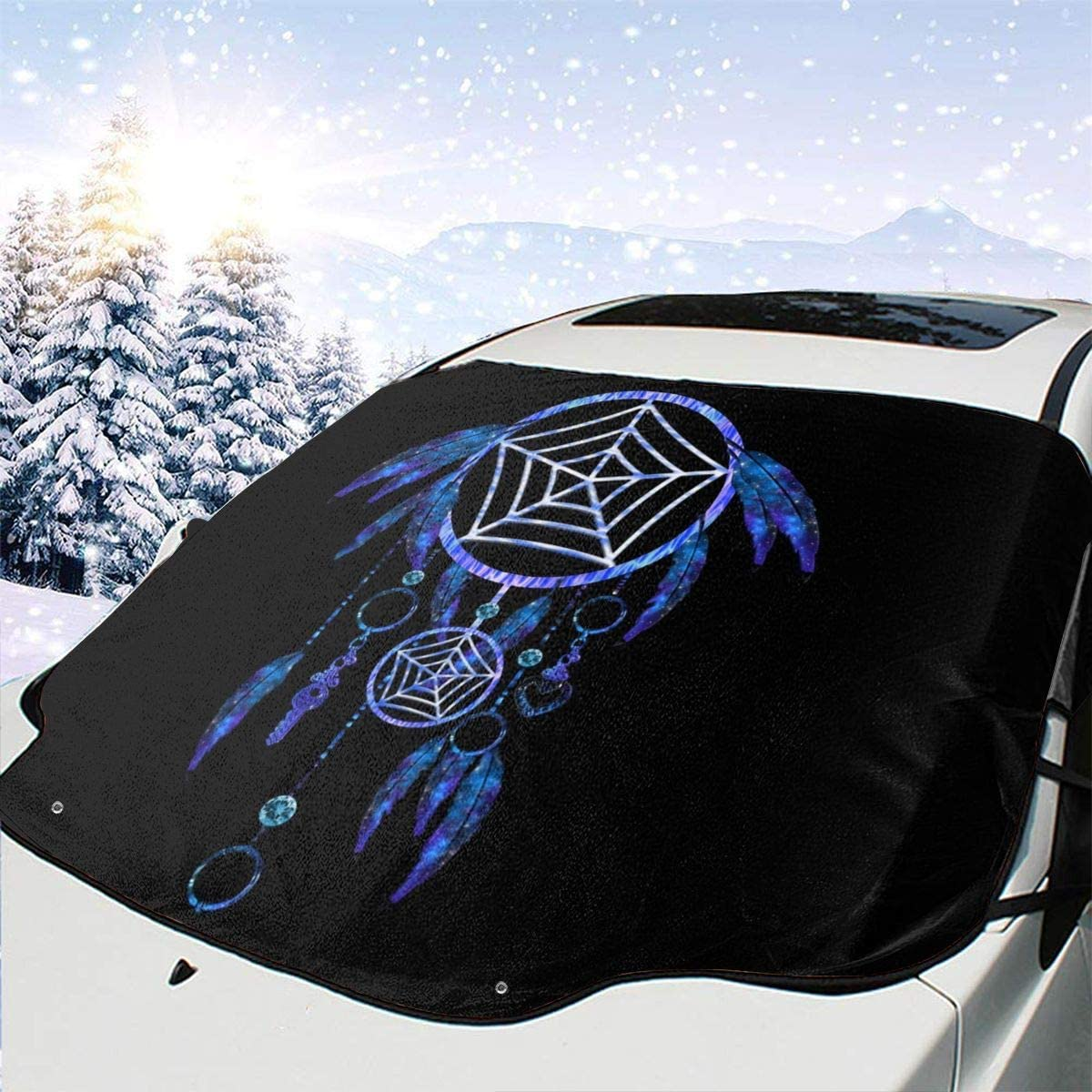 CheChenDengH Sweetest Dream Catcher Car Windshield Snow Cover Shade with Magnetic Edges Blocks UV Rays Reflector for Extra Large Windshield Cover Fits All Season and Most Cars