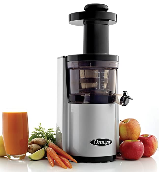Omega Juicers VSJ843RS Vertical Slow Masticating Juicer Makes Continuous Fresh Fruit and Vegetable Juice at 43 Revolutions per Minute Features Compact Design Automatic Pulp Ejection, 150-Watt, Silver