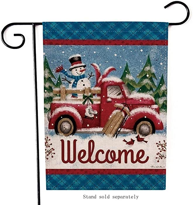 Artofy Welcome Christmas Garden Flag, Decorative Merry Xmas Outdoor Flag Sign with Snowman Red Truck, Rustic Burlap House Yard Garden Flag Winter Outside Decoration Seasonal Home Decor Flag 12 x 18