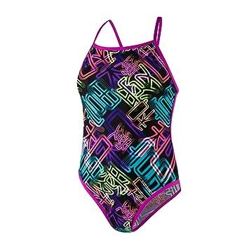 Speedo Kanji Neon Cross Tieback Swimsuit Traje de Baño, Mujer ...