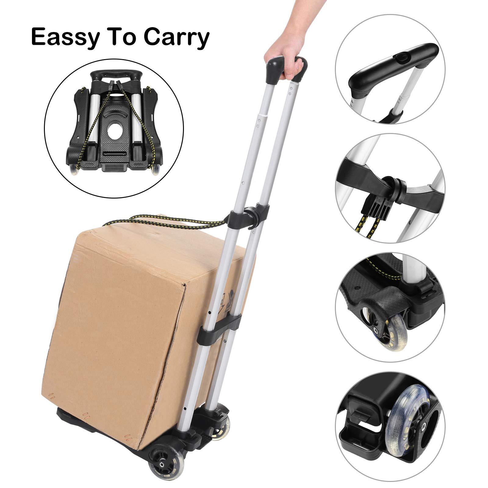 4a55de27c99 Coocheer Aluminum Folding Portable Luggage Cart Lightweight Travel Hand  Truck Heavy Duty Hand Trucks (
