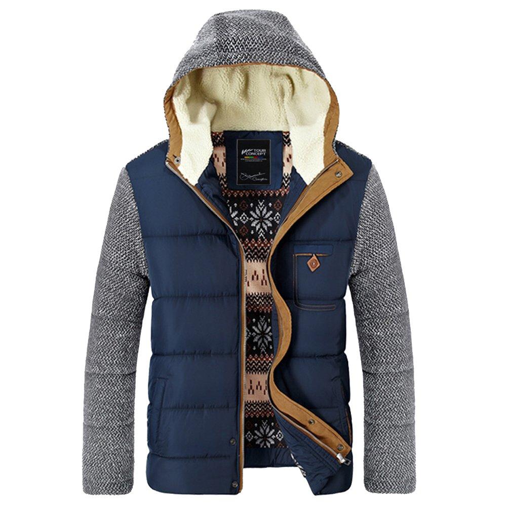 URBANFIND Men's Regular Fit Contrast Patchwork Winter Down Coat Down Jacket 01052