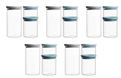Brabantia Stackable Glass Food Storage Containers, Set Of 3 (5 Pack)