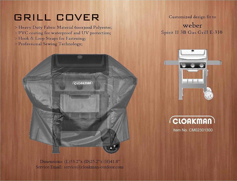Amazon Com Cloakman Premium Heavy Duty Grill Cover Fits Weber Spirit Ii E300 Series 3b Grill E310 E330 S315 7139 Garden Outdoor