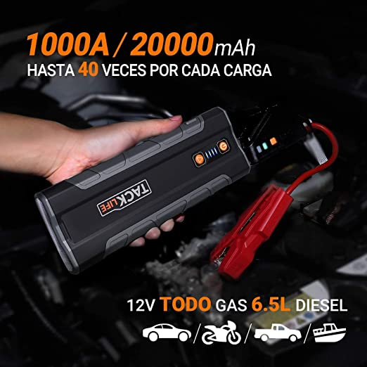 TACKLIFE T8 MAX Arrancador de Coches - 1000A/20000mAh Arrancador de Baterias de Coche (para Todo Gas, 6.5L Diesel) con Clamps Inteligentes, Doble USB ...