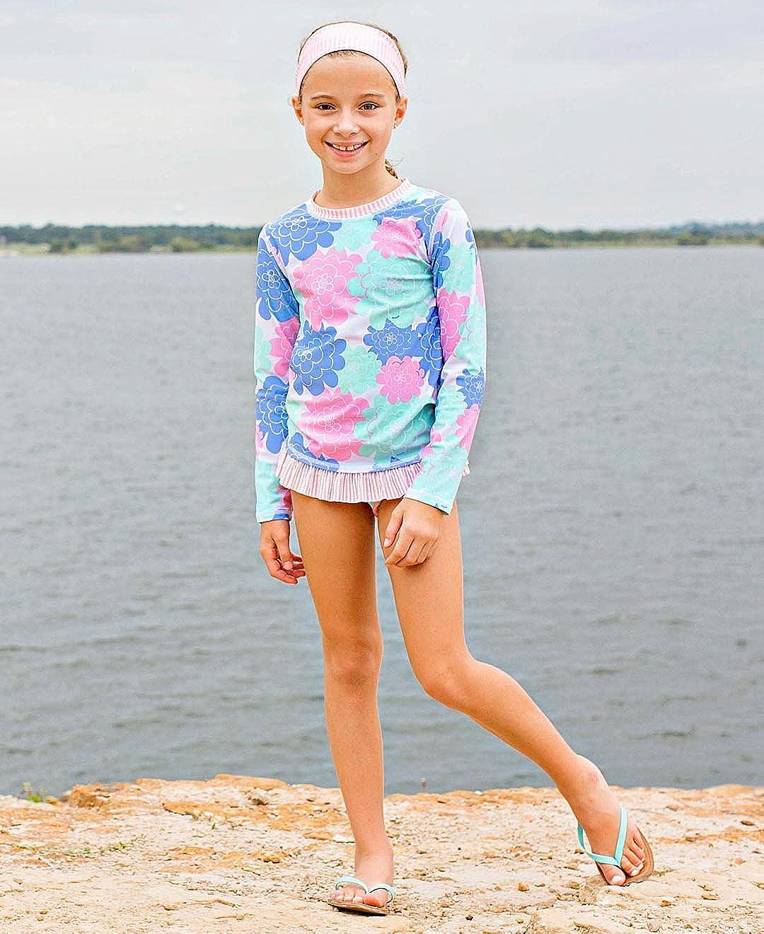 Long Sleeve Bikini with UPF 50 RuffleButts Little Girls Rash Guard 2-Piece Swimsuit Set Sun Protection RGSYYXX-PRLS-SC-TDLR