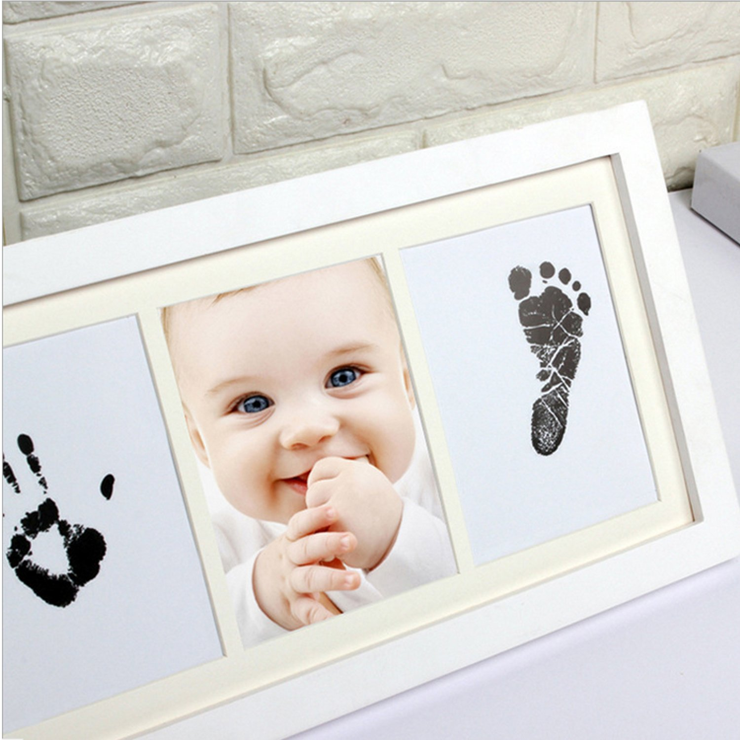 Baby Handprint Kit Clay Picture Frame (White) Best Shower Gifts Set ...