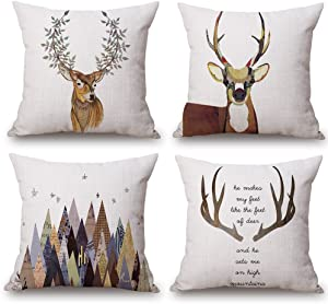 ULOVE LOVE YOURSELF Deer Throw Pillow Case 4 Pack Cotton Linen Cushion Covers,18 X 18 Inch Square Pillow Covers for Home Decorative (Deer)